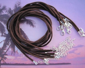 15pcs 16-18 inch adjustable 2.0mm brown satin necklace cord with silver findings