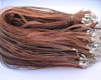 50pcs 17-19 inch adjustable brown ribbon necklace cord with lobster clasp