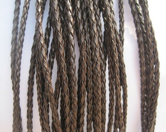 20pcs 17-19 inch adjustable 3mm brown faux braided leather necklace cord with lobster clasp