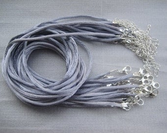 100pcs 17-19 inch adjustable 2.0mm gray satin necklace cord with silver findings