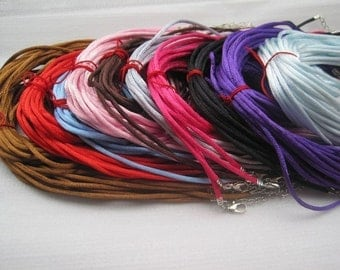 100pcs 2mm 16-18 inch adjustable assorted color(10 colors) satin necklace cord--perfect for small aanraku bails
