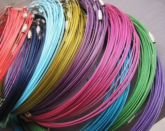 Big promotion//200pcs assorted color(19colors)1.0mm 18 inch stainless steel wire necklace cord