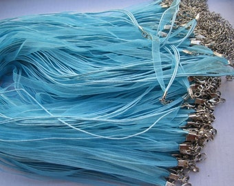 100pcs 17-19 inch adjustable blue ribbon necklace cord