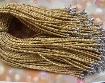 20pcs 17-19 inch adjustable 3mm gold faux braided leather necklace cord