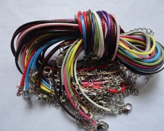 14pcs 1.5mm 16-18 inch adjustable assorted color(14 colors) korea wax string necklace cord