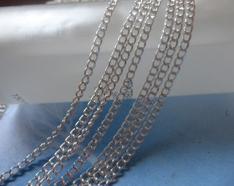 10 Meters -3x4mm Silver Plated Tone Brass Soldered Chain