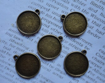 20Pcs 25mm Antique Bronze Plated Brass Cabochon Base frame Base for making resin photo necklaces and pendants