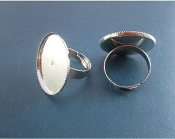 100pcs Adjustable Silver Ring Blanks 25mm