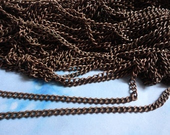 5 Meters -3x4mm-Antiued Copper Tone Brass Soldered Chain