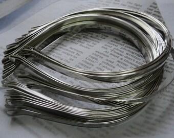 50pcs Metal Headbands 7mm silver color with bent end