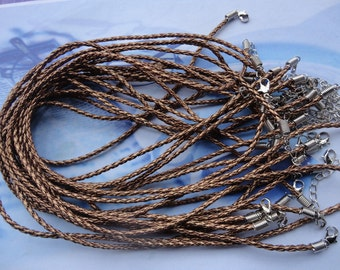 15pcs 17-19 inch adjustable 3mm coffee faux braided leather necklace cord