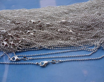 Class A Clasp--Get 22pcs of our Silver Plated/ Ball Chain Necklaces/Jewelry supply/18 inch(46cm)