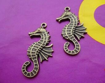 20pcs 40mmx16mm sea horse/hippocampi   Antique Bronze  Retro Pendant Charm For Jewelry Pendant