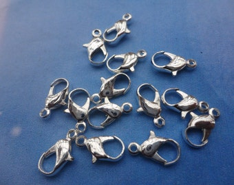 100pcs Silver Plated  Iron Lobster Claw Clasp Lobster Clasp 12X5mm