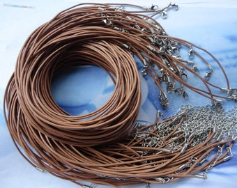 50pcs 1.5mm 16-18 inch adjustable light brown REAL LEATHER necklace cord with lobster clasp