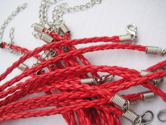20pcs 3mm 18-20 inch adjustable red faux braided leather necklace cord