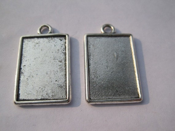 15pcs 25x18mm antiqued silver photo frame charms