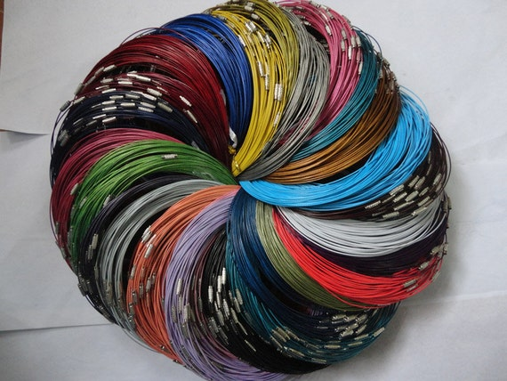 Big promotion//25pcs assorted color(25colors)1.0mm 18 inch stainless steel wire necklace cord