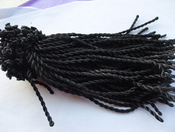 30pcs 7-8inch 3mm black  twist sillk bracelet