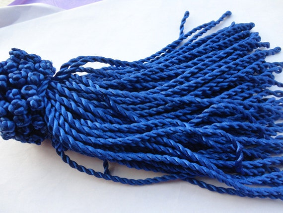 30pcs 7-8inch 3mm royal blue  twist sillk bracelet