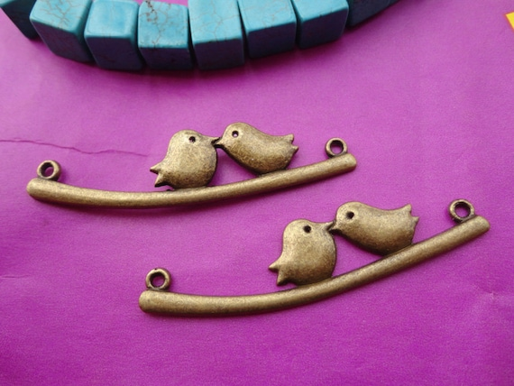 20pcs 55mmx12mm Two kiss birds  Antique Bronze  Retro Pendant Charm For Jewelry Pendant
