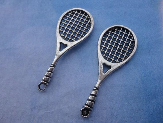 20pcs 50mmx19mm Tennis Racket Antique Silver Retro Pendant Charm For Jewelry Pendant