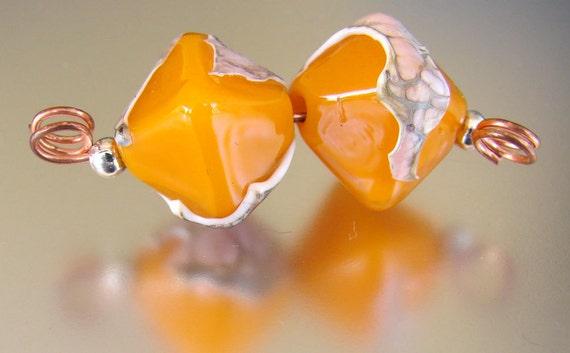Orange Peel - lampwork bead set