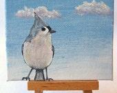 animal wildlife art acrylic original mini bird painting of Tufted Titmouse