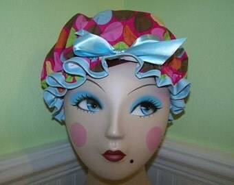 "Shower Cap ""Funky Dots Pink"" Women's Waterproof Washable Shower Caps"