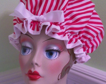 "Shower Cap Waterproof Washable ""Candy Stripe"""