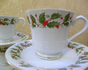 Vintage Holly Berries Cups and Saucers Set of 6 -- Holiday China Pearl Fine China Noel Pattern