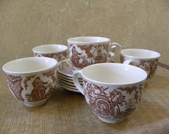 Vintage Fair Winds Cups and Saucers Set of 6 -- Fair Winds Brown Transferware by Alfred Meakin Staffordshire England