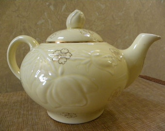 Vintage Yellow Ceramic Teapot -- Royal China 22KT Gold trim with embossed floral design