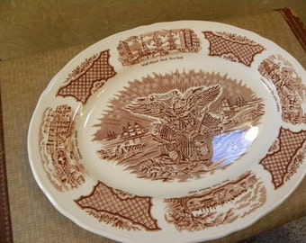 Vintage Fair Winds Large Oval Platter -- Fair Winds Brown Transferware by Alfred Meakin Staffordshire England