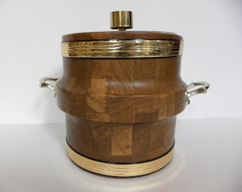 Vintage Ice Bucket -- Faux Wood Pattern with Gold accents Ice Bucket