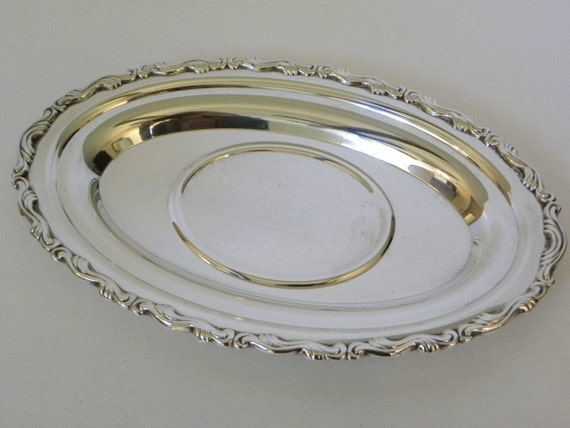 Vintage Silver tray -- Oval tray for Gravy Boat, serving or vanity