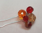 Beaded Cluster Hair Pin - Ruby Red - Free Shipping