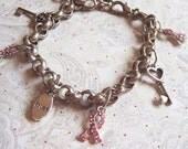 Trust we find the Key for Breast Cancer Bracelet- Vintage and New Elements - FREE SHIPPING