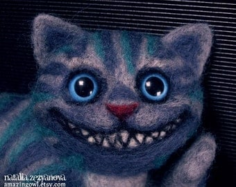 Needle Felted Cheshire Cat Sculpture - custom made for you