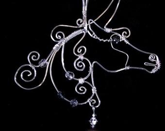 Black Unicorn - sterling silver wire pendant