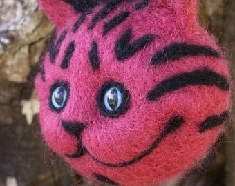 Needle Felted Cheshire Cat Head Ornament