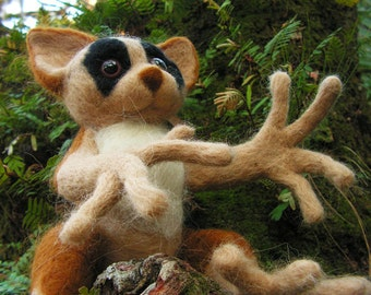Unique Needle Felted Creature - Lemur Sculpture