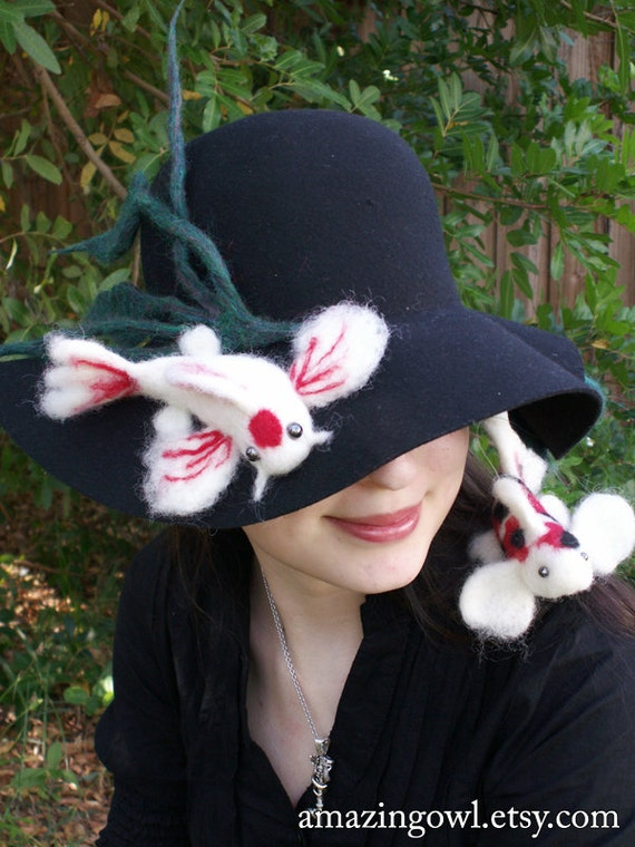 Needle Felted Koi Fish Hat - Red Black and White - Custom Made For You -