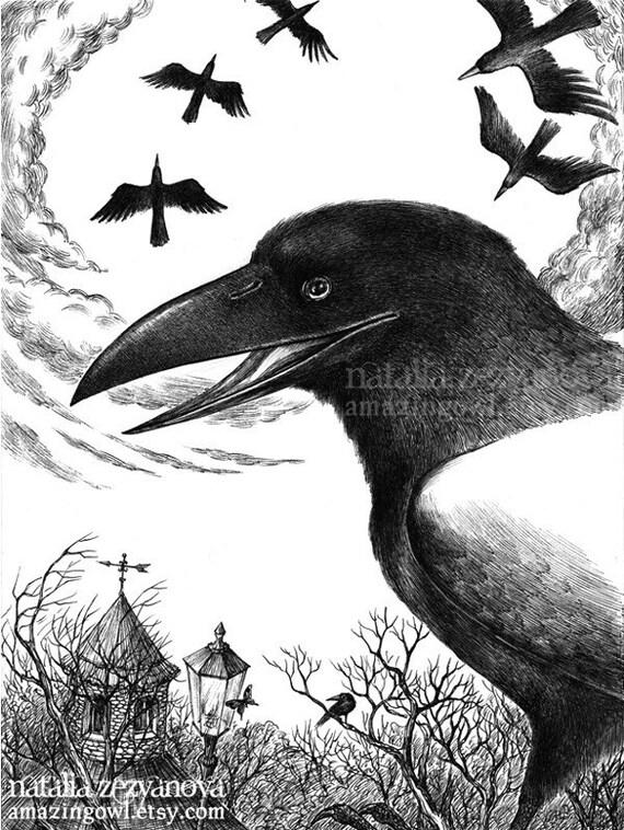Raven - Halloween 8 x 10 giclee print
