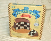 Checkerboard Cake Set Vintage Kitchenware