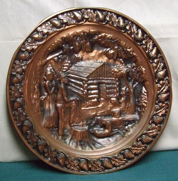 Copper Wall Hanging, Vintage Log Cabin Homesteader Decor, Coppercraft Guild Plate