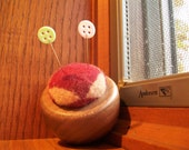 Small Recycled Wood and Wool Pin Cushion