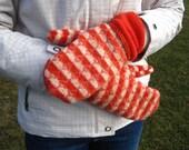Orange Handmade Upcycled Mittens