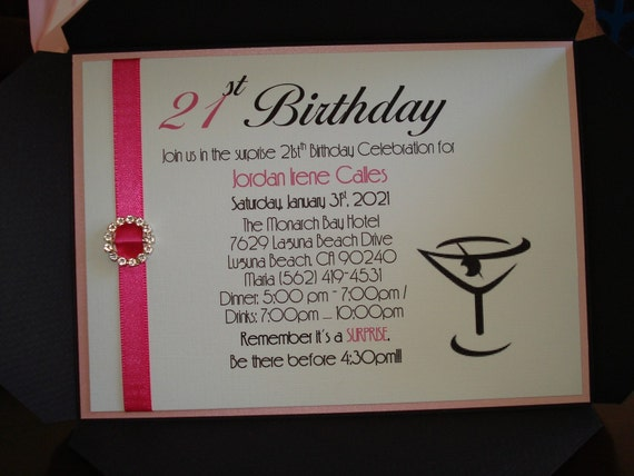Items similar to 25 Martini Invitations - 21st Birthday ...