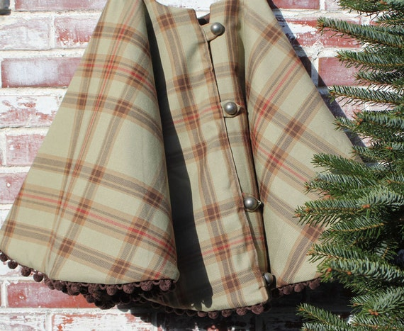 Christmas tree skirt rustic green wool plaid by